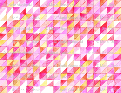 Watercolor Triangle Grid   Pink