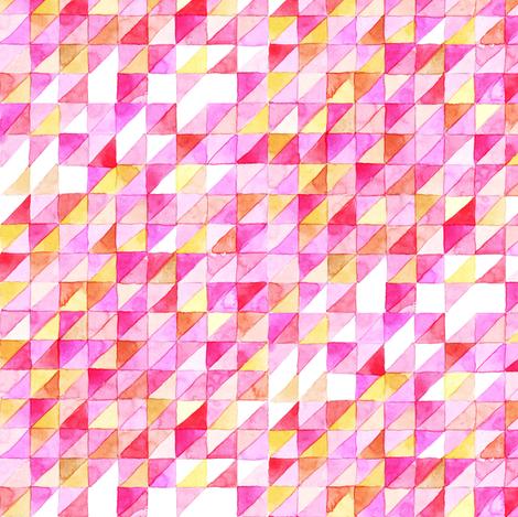 Watercolor Triangle Grid   Pink fabric by imaginaryanimal on Spoonflower - custom fabric
