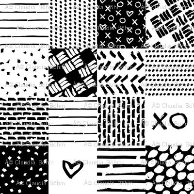 black white xoxo heart wholecloth