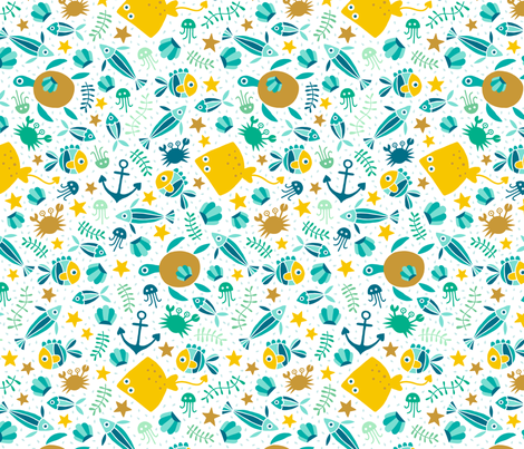 So many fish in the sea white fabric by heleen_vd_thillart on Spoonflower - custom fabric