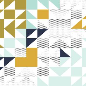 "puzzle wholecloth // polka dot mustard // 36"" x 42"""