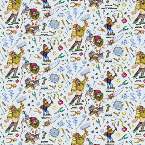 Men of Tools watercolor, small scale, blue gray grey fabric by amy_g on Spoonflower - custom fabric
