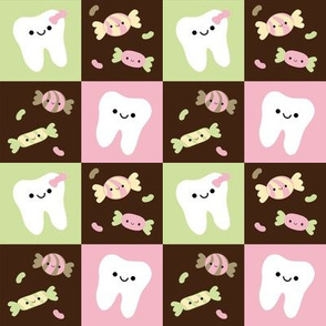 Happy Teeth Checkerboard - Brown, Pink, Light Green