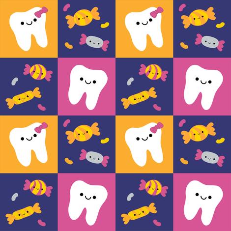 Happy Teeth Checkerboard - Royal Blue, Orange, Dark Pink fabric by clayvision on Spoonflower - custom fabric
