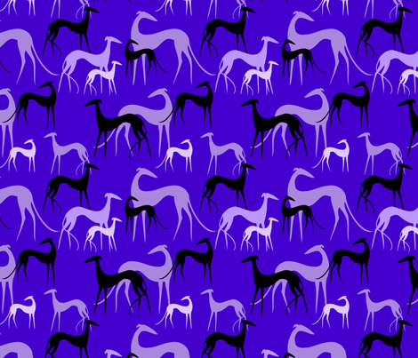 sighthounds aubergine fabric by lobitos on Spoonflower - custom fabric