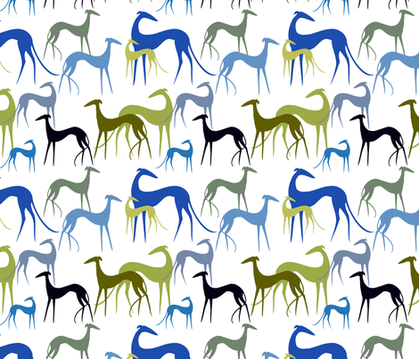sighthounds green-blue fabric by lobitos on Spoonflower - custom fabric