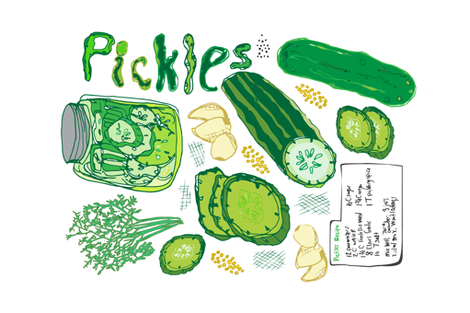 Pickles Pickles Pickles Tea Towel fabric by pixabo on Spoonflower - custom fabric