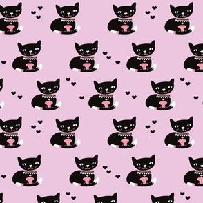 Adorable violet black kitten fun cat illustration in scandinavian abstract style print for kids and cats lovers