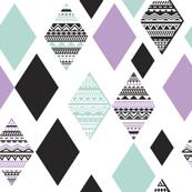 Aztec mint violet purple black and white geometric diamond fabric