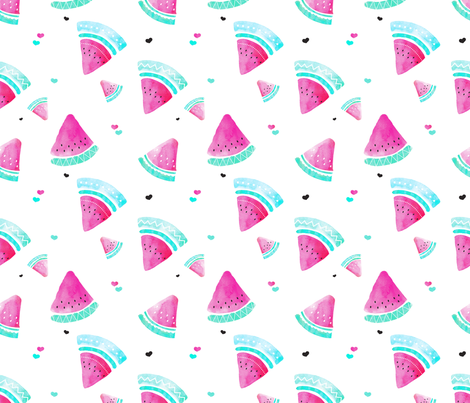 Colorful summer hot pink watermelon fruit hand painted pattern fabric by littlesmilemakers on Spoonflower - custom fabric
