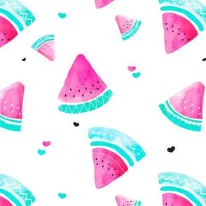 Colorful summer hot pink watermelon fruit hand painted pattern