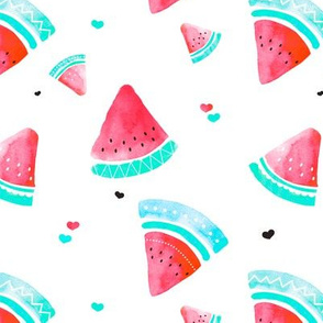 Colorful summer hot red watermelon fruit hand painted pattern