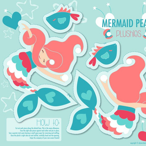 Mermaid Pearl Peach Plushie Cut and Sew