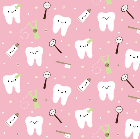 Happy Teeth & Friends - Light Piink fabric by clayvision on Spoonflower - custom fabric