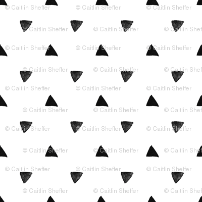 Black Triangles on white background - geometric modern pattern