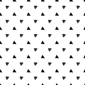 Black Triangles on white background - geometric modern pattern