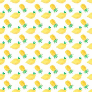 Lemons and Pineapples on white - Tropical Fruit