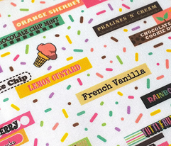 Scoop du Jour (Version 3) || ice cream scoop cone sweet dessert typography pastel rainbow summer stripes sprinkles