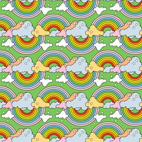 Rainbows to the Max (Bidirectional Green) || rainbow clouds stars 80s retro pop art pride children kids baby nursery