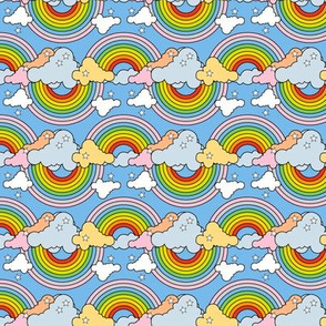 Rainbows to the Max (Bidirectional Light Blue) || rainbow clouds stars 80s retro pop art pride children kids baby nursery