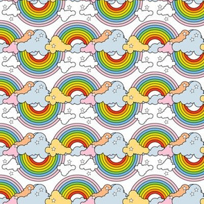 Rainbows to the Max (Bidirectional White) || rainbow clouds stars 80s retro pop art pride children kids baby nursery