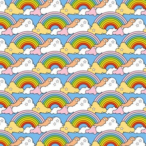 Rainbow to the Max (Light Blue) || rainbow clouds stars 80s retro pop art pride children kids baby nursery