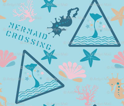 Mermaid Crossing in Skye Blue