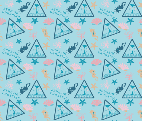 Mermaid Crossing in Skye Blue  fabric by alkhemyprintpattern on Spoonflower - custom fabric