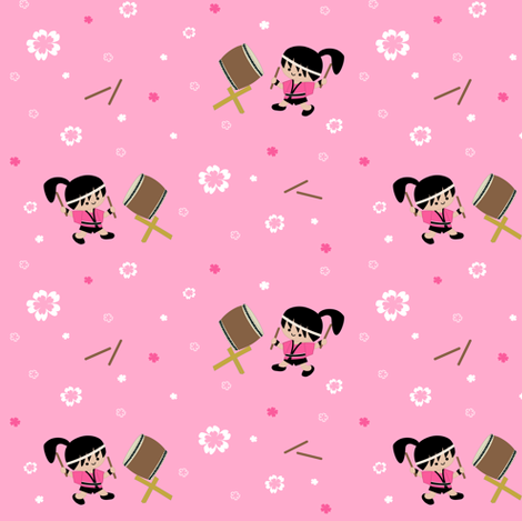 Taiko Drummer Girl fabric by clayvision on Spoonflower - custom fabric