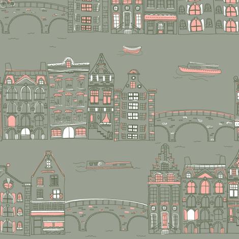 Amsterdam Canal Buildings: Grey fabric by verysarie on Spoonflower - custom fabric