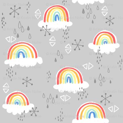 rainbows on grey - large