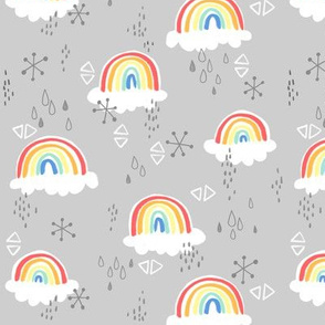 rainbows on grey - large