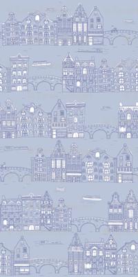 Amsterdam Canal Buildings: Light Blue
