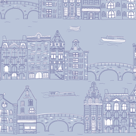 Amsterdam Canal Buildings: Light Blue fabric by verysarie on Spoonflower - custom fabric
