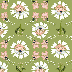 Dutch Floral: Light green & Coral