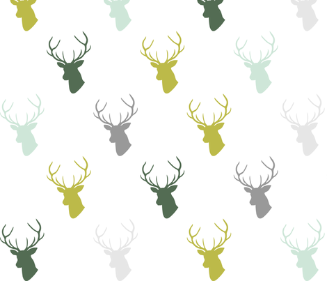 Green Mint Olive Gray Deer Fabric Mrshervi Spoonflower