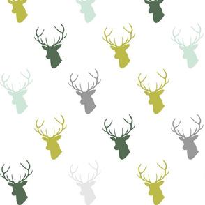 green mint olive gray deer