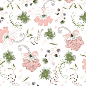 Large Scale Modern Floral: White, Coral & Green