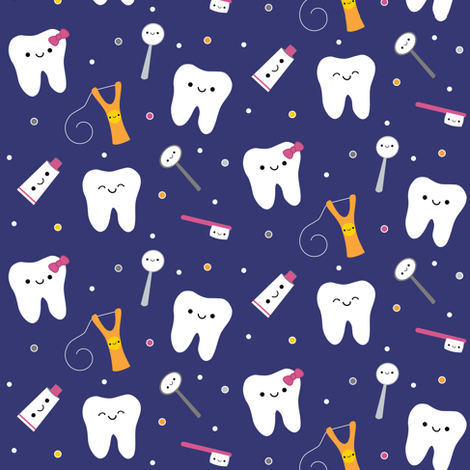 Happy Teeth & Friends - Royal Blue fabric by clayvision on Spoonflower - custom fabric