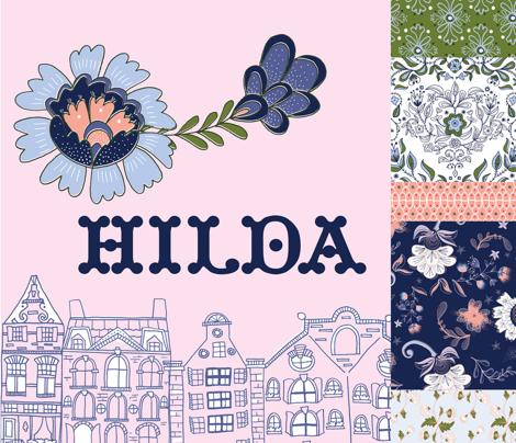 Floral Stripe: Indigo