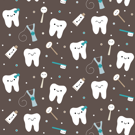 Happy Teeth & Friends - Brown & Teal fabric by clayvision on Spoonflower - custom fabric