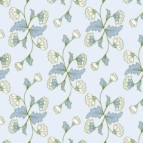 Floral Stripe: Light Blue