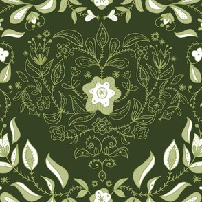 Dutch Floral Heart: Forest green