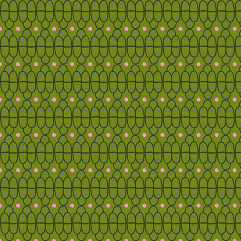 Hand Drawn Scallops: Green with pink dots fabric by verysarie on Spoonflower - custom fabric