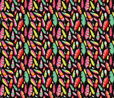 Aztec bird bohemian indian summer feathers XS fabric by littlesmilemakers on Spoonflower - custom fabric