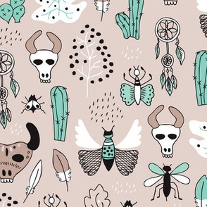Western skulls and animals indian summer cactus insects and feathers illustration in mint