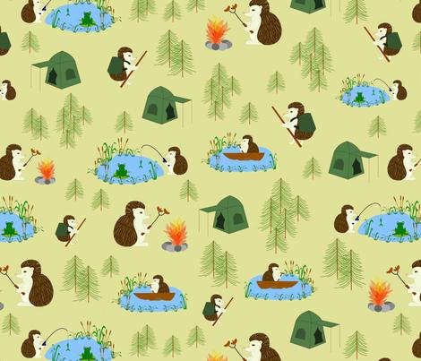hedgehog goes camping fabric by pamelachi on Spoonflower - custom fabric