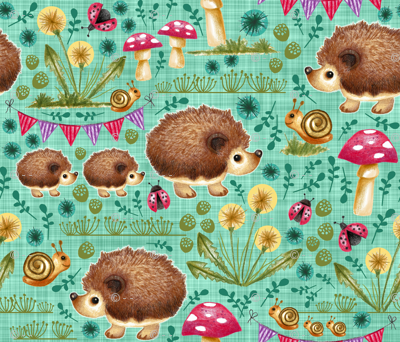 Hedgehog Garden Party - Teal