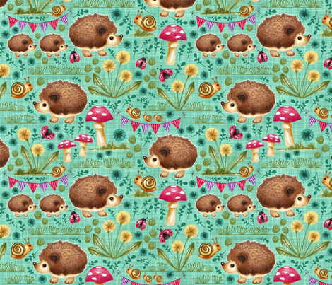 Hedgehog Garden Party - Teal fabric by run_quiltgirl_run on Spoonflower - custom fabric