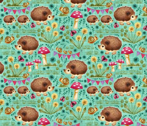 Hedgehog Garden Party - Teal fabric by run_quiltgirl_run on Spoonflower - custom fabric